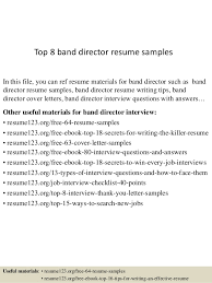 Top 8 band director resume samples In this file, you can ref resume  materials for ...