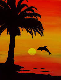 dolphins painting dolphin sunset by barbara st jean