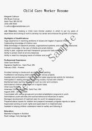 Example Child Care Resume Samples Cover Letter Glamorous Daycare