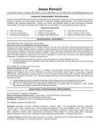 Financial Analyst Resume Objective By Jesse Kendall Finance .