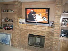 floating fireplace mantel brackets support interior brick wall design ideas mounting screen modern living room decor