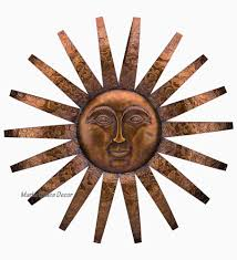 copper patina sun face sunburst metal wall art embossed rays large 33
