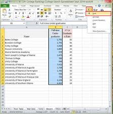 college selection spreadsheet creating college lists 101 introduction to calculating data in