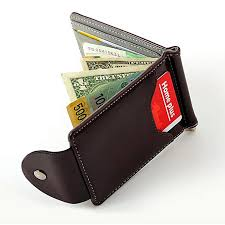 eissely ultra thin leather money clip slim wallets id credit card holder purse gy