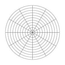 Polar Grid Of 10 Concentric Circles And 30 Degrees Steps Blank