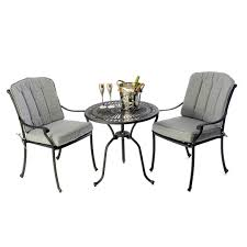 cast aluminium bistro table 28 inch with 2 venetian chairs black