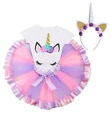 Unicorn Tutu Skirt Set for Little Girls Rainbow Layered ... - Amazon.com