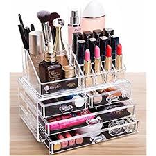 Cq acrylic 4 Drawers and 16 Grid Makeup Organizer with Cosmetic Storage  Cases, The Top