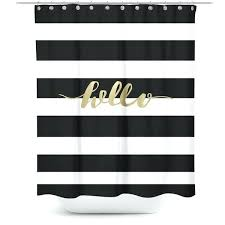 black and white damask fabric shower curtain striped with gold typography