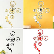 wall clock decals removable mirror style wall clock wall stickers decal vinyl art wall sticker home bedroom office removable wall decals clock