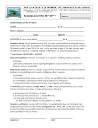 Interior Lighting Compliance Certificate High Efficacy Lighting Affidavit