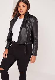 plus size leather moto jacket plus size faux leather cropped biker jacket black