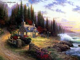 drawing painting thomas kinkade home is wherethe heart is