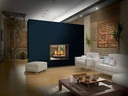 Fireplace as a wall divider... all we need is a swivel flat screen ...