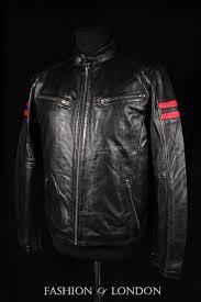details about men s bloodline black lambskin red stripe racing motorcycle biker leather jacket