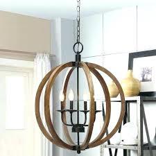 wooden pendant light rustic chandelier lighting fixture orb sphere wood globe round timber lights beacon white
