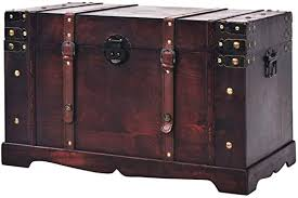 BLUECC Vintage Wood Treasure Chest Storage ... - Amazon.com