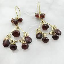 garnet chandelier gold earrings