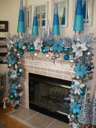 Blue & Silver Christmas Fireplace - This is cute if you're doing a
