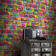 rasch graffiti brick multi wallpaper