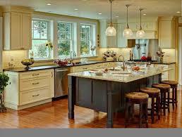 Brown Tile Backsplash Wooden Island Modern Farmhouse Kitchen