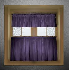 purple color tier kitchen curtain two panel set