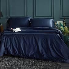 60s tencel solid color navy blue bedding set on duvet cover bed sheet pillowcase bed linen