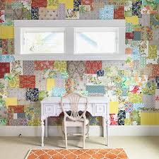 how to make a patchwork wallpaper wall