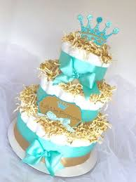 Diaper Cake Little Prince Light Turquoise Blue Gold Baby Boy