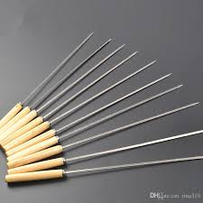 2019 stainless steel barbecue skewers wooden wood handle metal roasting needle outdoor picnic bbq tools forks t1i442 from tina310 0 4 dhgate com