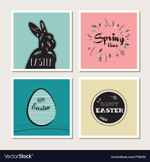 Happy Easter Set Of Stylish Cards Or Invitations