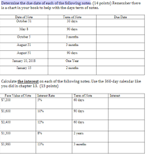 Due Date Chart By Month Solved Determine The Due Date Of Each Of The Following No