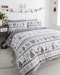 noel duvet quilt cover reindeer xmas tree bedding bed set silver grey single