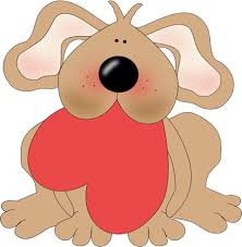 Dog Holding a Heart Clip Art - Dog Holding a Heart Image