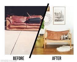 diy modern vintage furniture makeover. ugly sofa upcycled into leather safari sling bench old furniturefurniture makeoverfurniture diy modern vintage furniture makeover c
