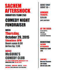 event sachem robotics hosting comedy night the sachem report comedy fundraiser night 2015 10 29 flyer