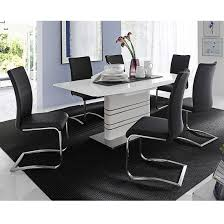 modus white gloss extendable dining set and 4 arco black chairs
