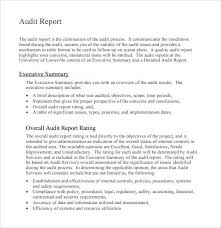 Nice Audit Report Format Sample In Word With Executive
