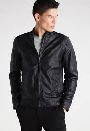 solid gaston faux leather jacket black men excellent quality solid t shirts various styles