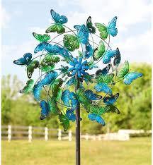 garden sculpture. Blue And Green Butterflies Metal Wind Spinner KA6925 Garden Sculpture