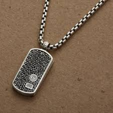 david yurman jewelry black diamond pave tag necklace poshmark david yurman mens necklace