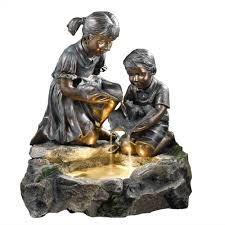 fountain cellar fratelli siblings rock outdoor indoor fountain with light fcl008 the home depot