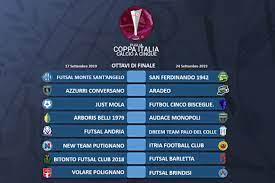 COPPA ITALIA CALCIO A CINQUE: ANDATA OTTAVI DI FINALE - Lega Nazionale  Dilettanti - CR Puglia