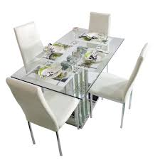 crystal grand white 4 seater glass top dining table set woodys chairs crystal 4 seater dining