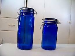 cobalt blue glass kitchen canister 12 panel jars wire bail hinged set of 2 euc