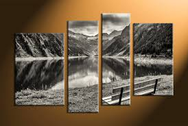 >4 piece black and white mountain art home decor 4 piece wall art forest group canvas black and white large