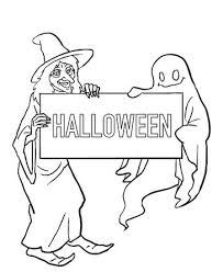 Small Picture Ghost And Witch Halloween Coloring Pages Printable Free Hallowen