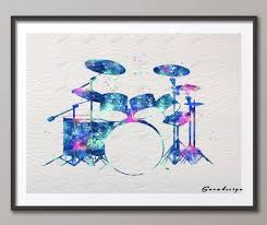 >diy original watercolor drum kit set canvas painting wall art poster  diy original watercolor drum kit set canvas painting wall art poster print living room decoration pictures