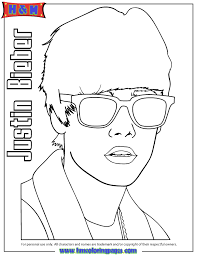 Small Picture Justin Bieber Wearing Sunglasses Coloring Page H M Coloring Pages