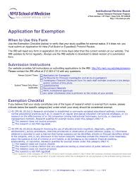 Application For Exemption